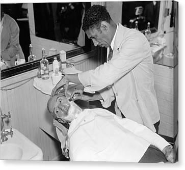 Ewing Canvas Print - Senate Barber Shop, 1936 by Granger