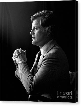 Canvas Print featuring the photograph Senator Edward Ted Kennedy 1976 by Martin Konopacki Restoration