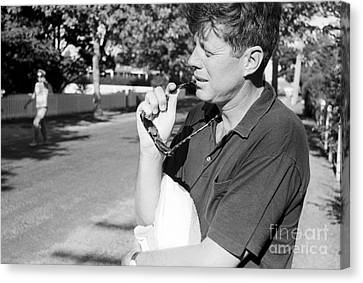 Senator John F. Kennedy And Jacqueline 1959 Canvas Print by The Harrington Collection