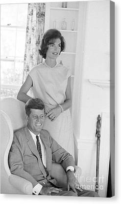 Senator John F. Kennedy And Jacqueline At Hyannis Port 1959 Canvas Print by The Harrington Collection