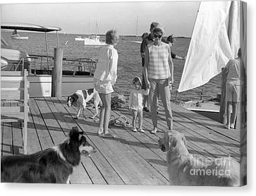 Senator John F. Kennedy And Jacqueline At The Marina Canvas Print by The Harrington Collection
