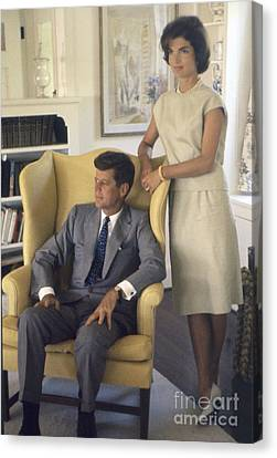 Senator John F. Kennedy With Jacqueline 1959 Canvas Print by The Harrington Collection
