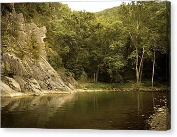 Seneca Rocks Swimming Hole Canvas Print by Shane Holsclaw