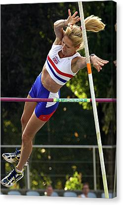Senior British Female Pole Vaulter Canvas Print by Alex Rotas