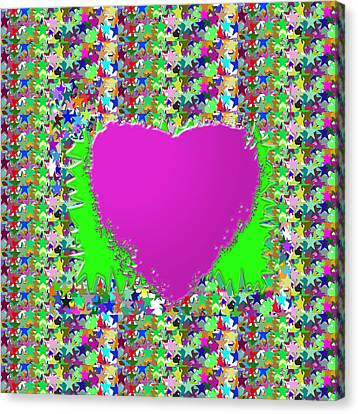 Canvas Print featuring the photograph Sensual Pink Heart N Star Studded Background by Navin Joshi