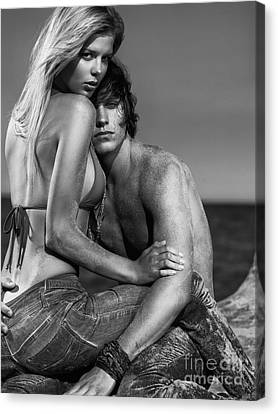 Sensual Portrait Of A Young Couple On The Beach Black And White Canvas Print