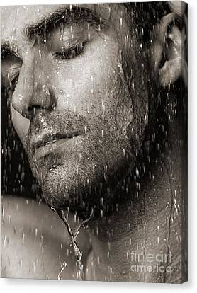 Sensual Portrait Of Man Face Under Pouring Water Black And White Canvas Print