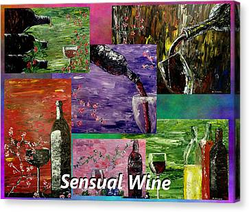 Sensual Wine Collage Canvas Print by Mark Moore