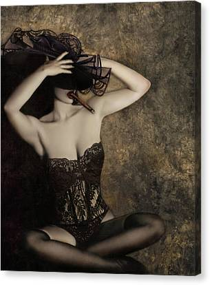 Boudoir Canvas Print - Sensuality In Sepia - Self Portrait by Jaeda DeWalt