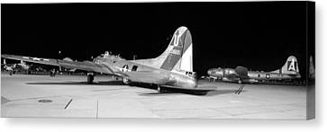 Sentimental Journey Fifi And Maid In The Shade Panorama Grayscale Night March 2 2013 Canvas Print