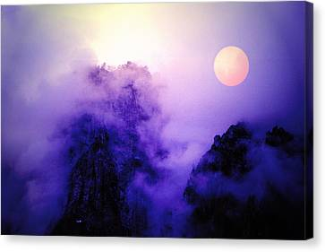Sentinal Rock And Moon Shrouded In Mist Canvas Print