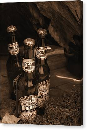 Canvas Print featuring the photograph Sepia Bottles by Rachel Mirror