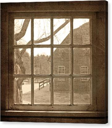 Sepia Colonial Scene Through Antique Window Canvas Print by Brooke T Ryan