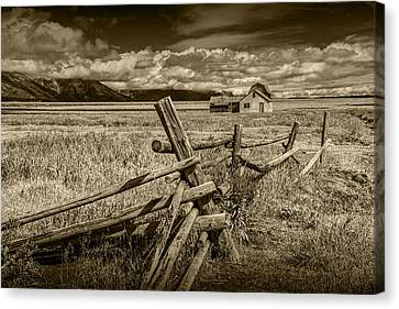 Sepia Colored Photo Of A Wood Fence By The John Moulton Farm Canvas Print by Randall Nyhof