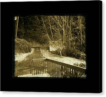 Canvas Print featuring the photograph Sepia - Country Road First Snow by Absinthe Art By Michelle LeAnn Scott