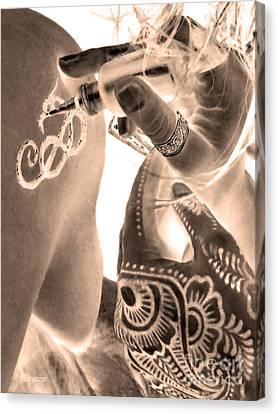 Sepia Henna Hands Canvas Print