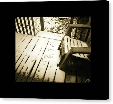 Canvas Print featuring the photograph Sepia - Nature Paws In The Snow by Absinthe Art By Michelle LeAnn Scott