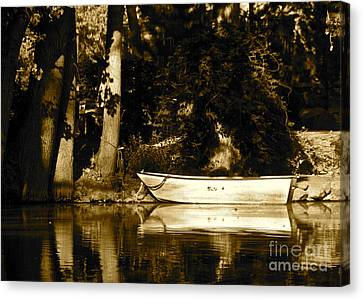 Sepia Rowboat Canvas Print by Vinnie Oakes