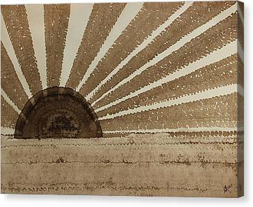 Sepia Sunset Original Painting Canvas Print