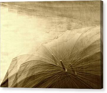 Sepia Umbrella Impressions In The Rain Canvas Print by Suzanne Powers