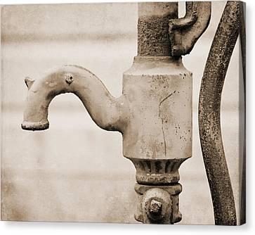 Sepia Vintage Farmhouse Canvas Print - Sepia Water Pump by Lisa Russo