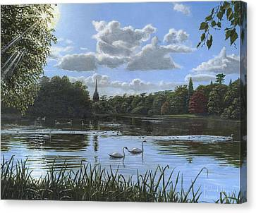 Swans... Canvas Print - September Afternoon In Clumber Park by Richard Harpum