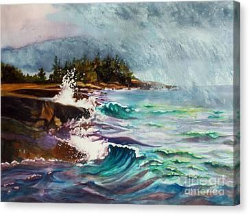 September Storm Lake Superior Canvas Print by Kathy Braud