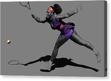 Serena Williams Getting It Done Canvas Print by Brian Reaves