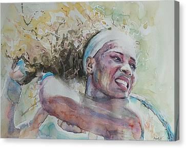 Australian Open Canvas Print - Serena Williams - Portrait 2 by Baris Kibar