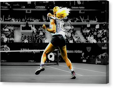 Serena Williams Return Canvas Print by Brian Reaves
