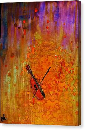 Canvas Print featuring the painting Serenade For A Rainy Day... by Cristina Mihailescu