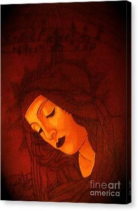Byzantine Canvas Print - Serene Botticelli Madonna by Genevieve Esson