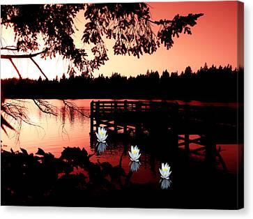 Serene Scene At Lake Ballinger Canvas Print by Eddie Eastwood