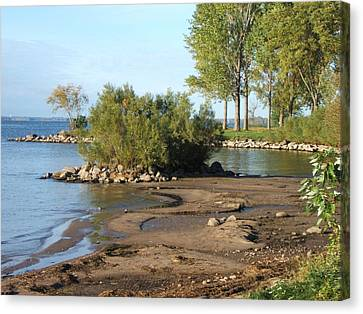 Serene Shores Of The St. Lawrence Canvas Print by Margaret McDermott