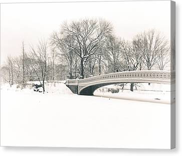 Serenity - Bow Bridge In The Snow - Central Park Canvas Print