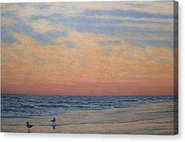 Serenity - Dusk At The Shore Canvas Print by Kathleen McDermott