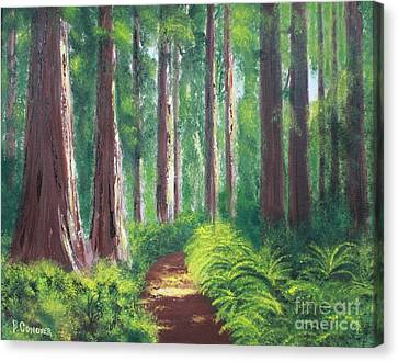 Canvas Print featuring the painting Serenity Forest by Bev Conover
