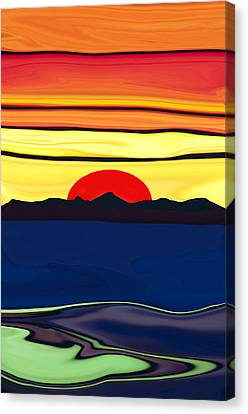 Serenity Lake Sunset Canvas Print by Haleh Mahbod