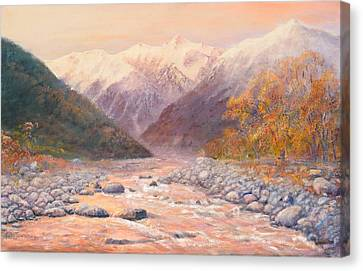 Serenity Mountains Canvas Print by Peter Jean Caley