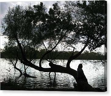 Canvas Print featuring the photograph Serenity On The River by Digital Art Cafe