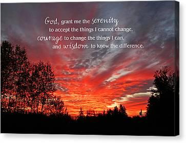 Serenity Prayer Canvas Print by Barbara West
