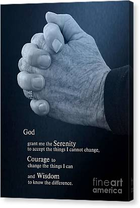 Christian Poetry Canvas Print - Serenity Prayer Finding Peace by Ella Kaye Dickey