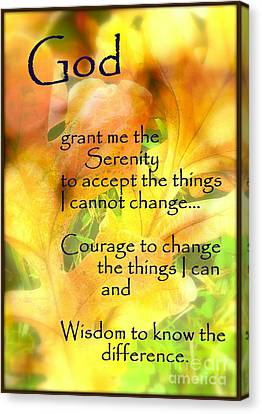 Serenity Prayer In Golden Leaves Canvas Print by Ella Kaye Dickey