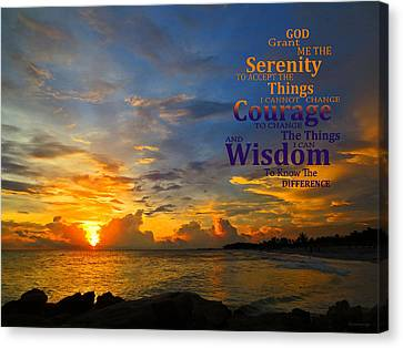 Serenity Prayer Sunset By Sharon Cummings Canvas Print by Sharon Cummings