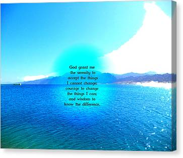 Serenity Prayer With Blue Ocean And Amazing Sky Canvas Print by Valentino Wolf