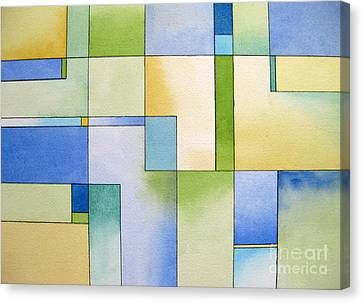Serenity Watercolor Pen And Ink Geometric Abstract Painting Canvas Print by Cherilynn Wood