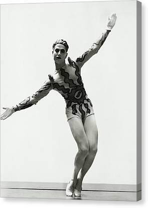 Ballet Dancers Canvas Print - Serge Lifar Wearing A Painted Leotard by George Hoyningen-Huene