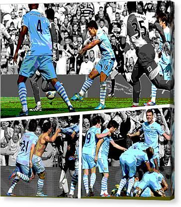Sports Canvas Print - Sergio Aguero Goal Vs Qpr by Pro Prints