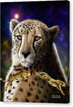 Canvas Print featuring the digital art First In The Big Cat Series - Cheetah by Thomas J Herring