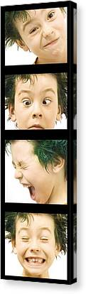 Series Of Portraits Of Boy With Green Canvas Print by Chris and Kate Knorr